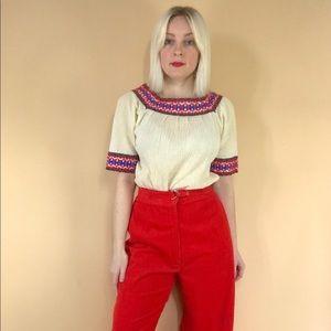 Vintage 1970s Greek boho folk peasant blouse S/M